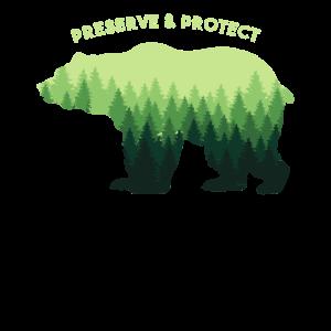 Bear Design - Nature Lover Gift - Preserve & Prote
