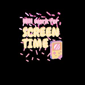Will Work For Screen Time | Nerd Retro Motiv