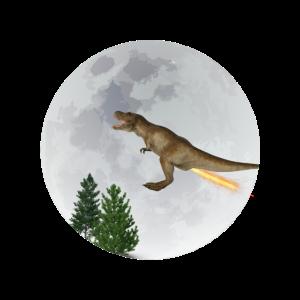 T-Rex mit Raketenantrieb fleigt vor dem Mond