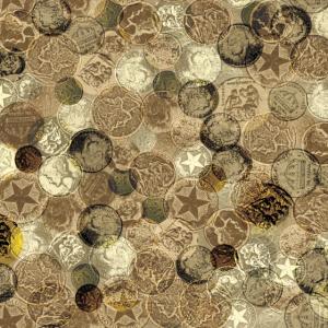 Vintage Coins Stamp Collage - Gesichtsmasken - Benutzerdefiniert