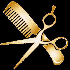 goldenes Friseur Zubehör Schere und Kamm