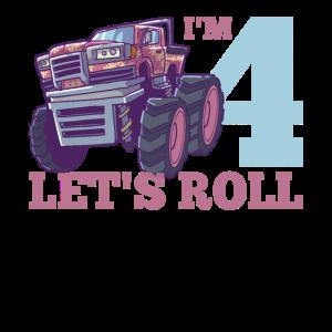 4. Geburtstag Monster Truck vier Jahre alt