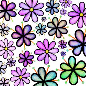 Lila Doodle Blumen Funky Retro Muster