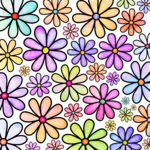 Buntes Gekritzel-Blumengartenmuster