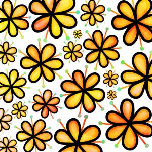 Orange Doodle Flowers Funky Retro Muster