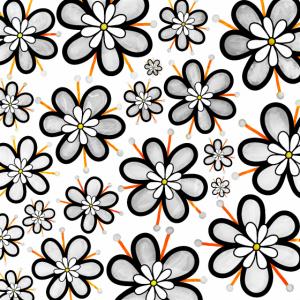 Graues Doodle Blumen Funky Retro Muster