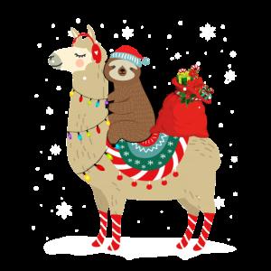 Weihnachten Faultier auf einem Lama