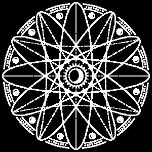 Heilige Geometrie mit Mondphasen weiss