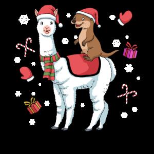 Weihnachten Alpaka Shirt Lama Geschenk Otter