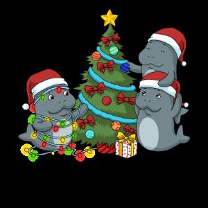 Weihnachten Seekuh Tshirt Weihnachtsbaum Manatee