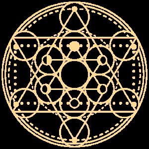 Mondphasen Merkaba Geometrie gelb