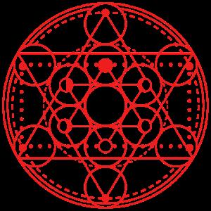 Mond Phasen Geometrie Merkaba rot