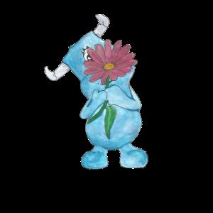 Monster mit Blume Wasserfarben