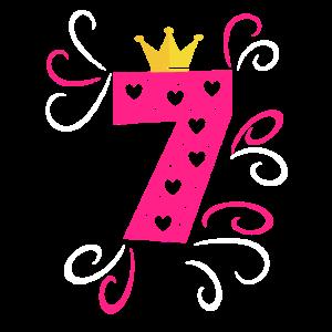 sieben jahre alt Krone pink Geburtstagsgeschenk