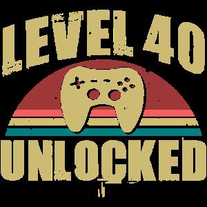 40 Geburtstag Level 40 Unlocked 40 Jahre