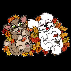 Blätterspaß Wolke und Katze