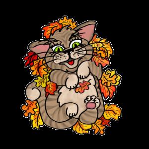Blätterspaß Katze