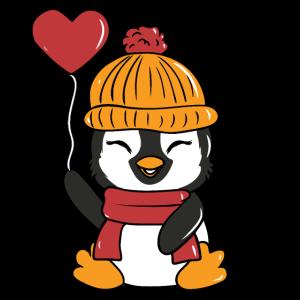 Süßer Pinguin Winter Style Schal Mütze Herz Ballon