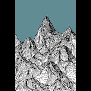 Berge als Skizze in blau