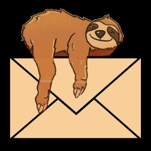 Brief mit Faultier Aufkleber Sticker für die Post