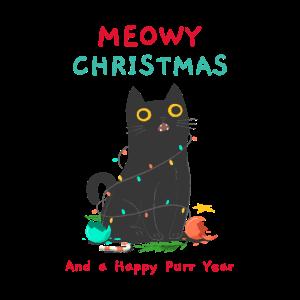 Cat Funny Christmas Meowy Katze Kitty