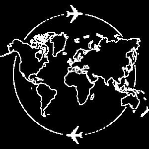 Weltkarte mit Flugzeugen