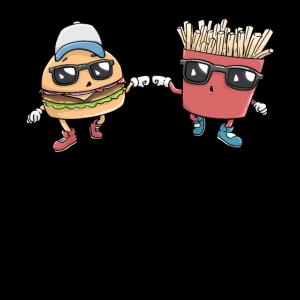 Burger und Pommes Kawaii süß