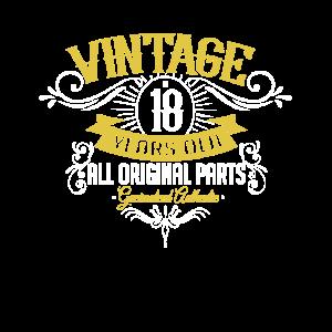 18 Geburtstag Vintage Old Volljährig