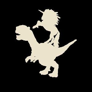 Trex Dinosaurier mit Einhorn