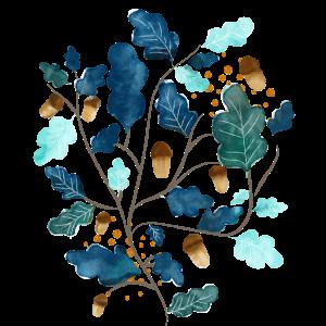 Herbst, Blätter und Eicheln