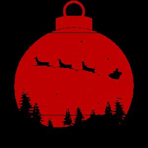 Weihnachtskugel Santa Rentiere Wald Geschenk