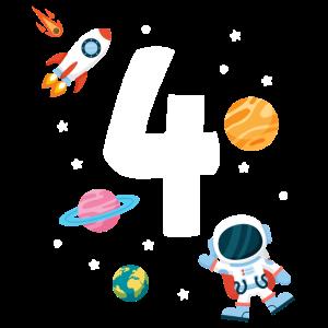 4. Geburtstag Astronaut Jungen 4 Jahre Weltraum