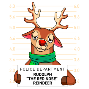 Witziges Rehntier Rudolf mit roter Nase verhaftet