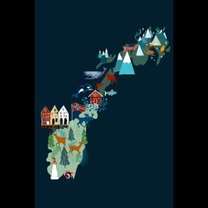 Norwegen Landkarte I Geschenk und Souvenir