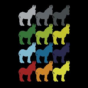 Neon Pop Art Retro Esel Maultier Tier Geschenkidee