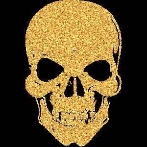 Totenkopf Totenschädel Skull Knochen Glitzer gold
