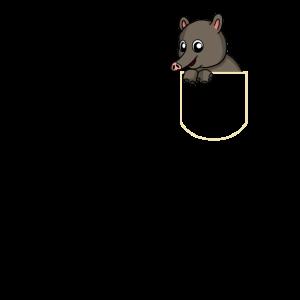 Tapir in Der Brusttasche Tapir T-Shirt