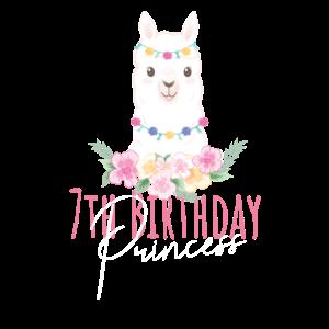 7. Geburtstag Prinzessin Mädchen 7 Jahre altes Lama