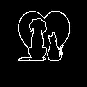 Hund & Katze Herz Motiv Haustiere Liebe Geschenk