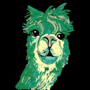 Alpaka - Zeichnung Tier Kopf grün - blau