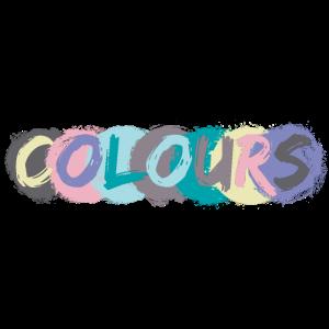 """Farbenfroher """"Colours"""" Schriftzug"""