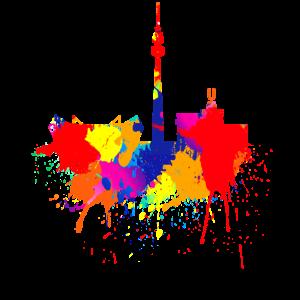 Dortmund Skyline Bunte Farben Malerei Kunst Liebe