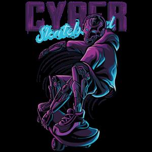 cyber skateboard robot illustration