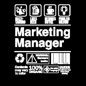 Marketing Manager Produktetikett Lustiges Geschenk