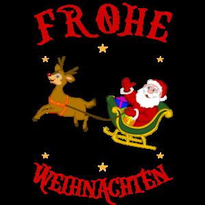 Weihnachtsmann auf Schlitten mit Rentier Design