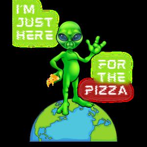 Lustiger Spruch Alien Pizza