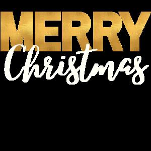 Merry Christmas - Geschenk Gold spruch Weihnacht