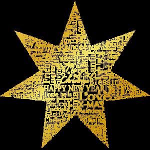 Stern aus Worten Weihnachten goldoptik