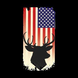 Patriotic Stag Hart Deer Hunting Hunter