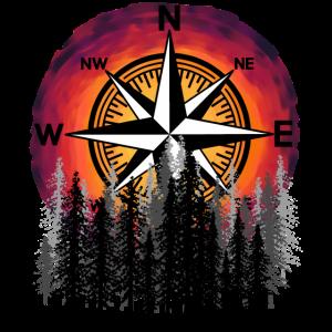Kompass Windrose Outdoor Trecking Naturliebhaber
